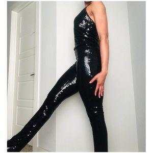 Patricia Field Black Sequin Cat Suit